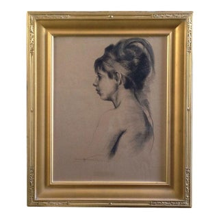 Early 20th Century Portrait Charcoal Drawing of an Elegant Young Woman with Feather by Emil Kosa Jr., Framed For Sale