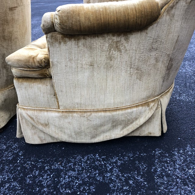 Metal 1970s Vintage Hollywood Regency Style Velvet Tufted Tassel Club Chairs - A Pair For Sale - Image 7 of 13