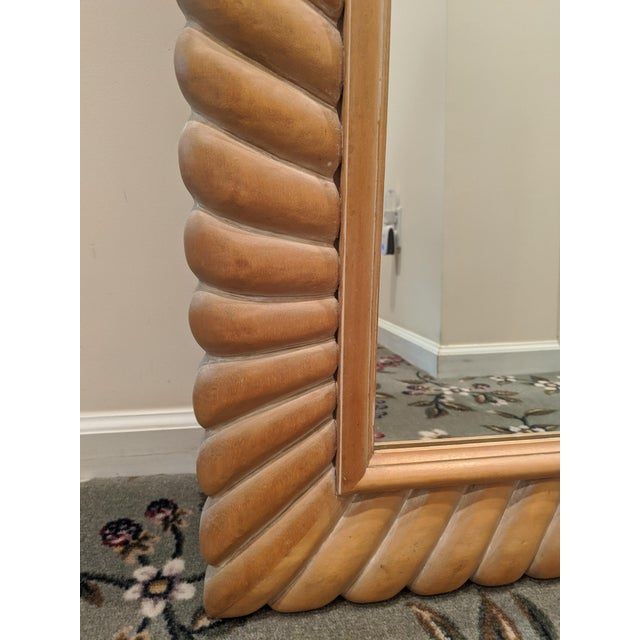Boho Chic 1970s Italian Carved Natural Wood Mirror For Sale - Image 3 of 8