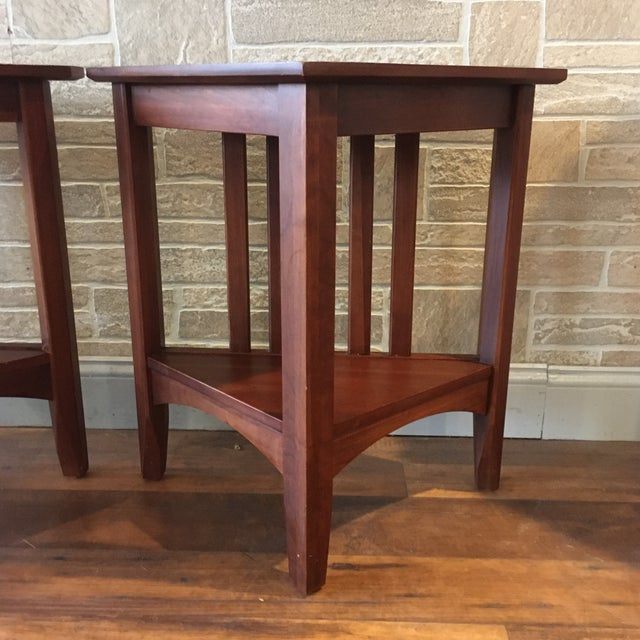 American Late 20th Century Ethan Allen Solid Cherry Triangle Corner Side Table For Sale - Image 3 of 13