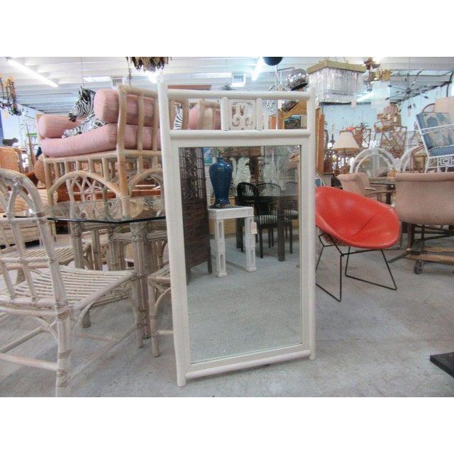 Vintage White Rattan Mirror - Image 2 of 5