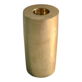 Modernist Cylindrical Brass Candleholder For Sale