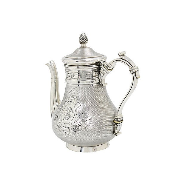 19th Century Antique French Christofle Silver-Plate Coffee Pot For Sale - Image 5 of 7