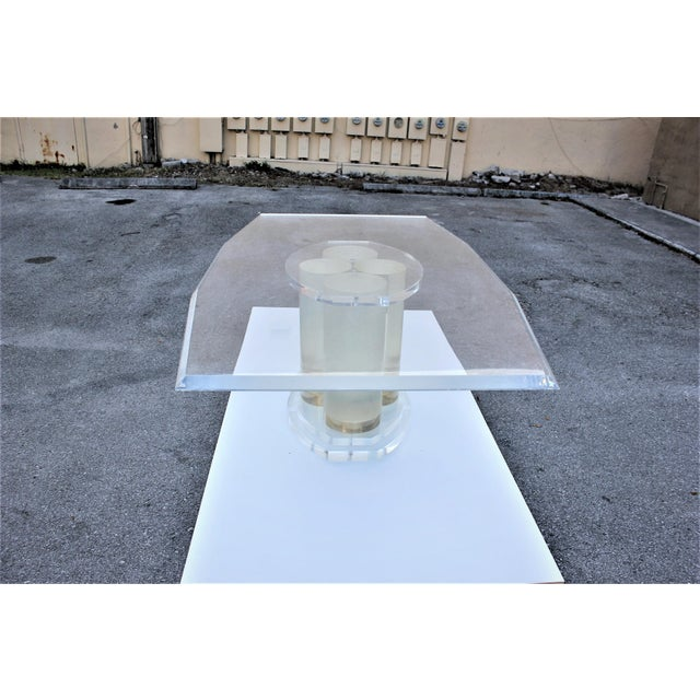 Lion in Frost Mid-Century Modern Lucite Dining Table For Sale - Image 10 of 13