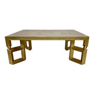Baker Furniture Giltwood Asian Modern Coffee Table For Sale