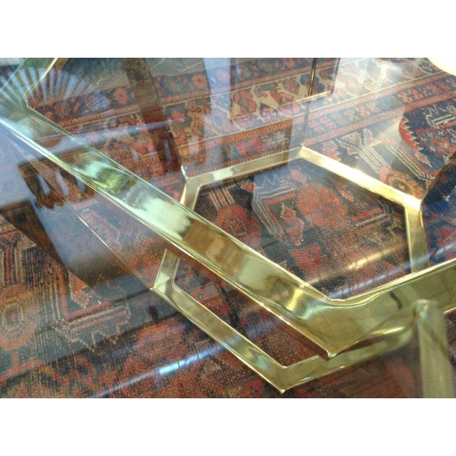 70's Modern Brass & Glass Coffee Table For Sale - Image 4 of 5