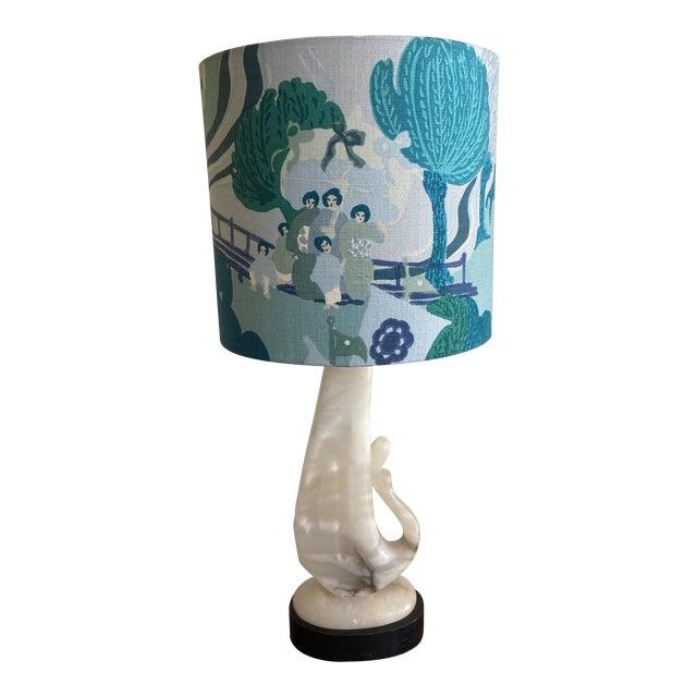 Vintage Alabaster Lamp With Schumacher Shade For Sale