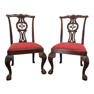 Baker Chippendale Ball in Claw Mahogany Dining Side Chairs - Pair 1 For Sale