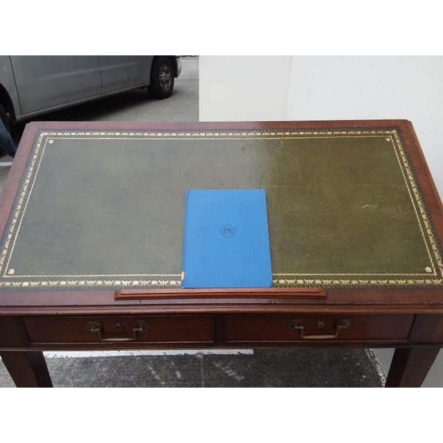 Late 19th Century English Drafting Partners Table With Green Leather Top For Sale - Image 5 of 12