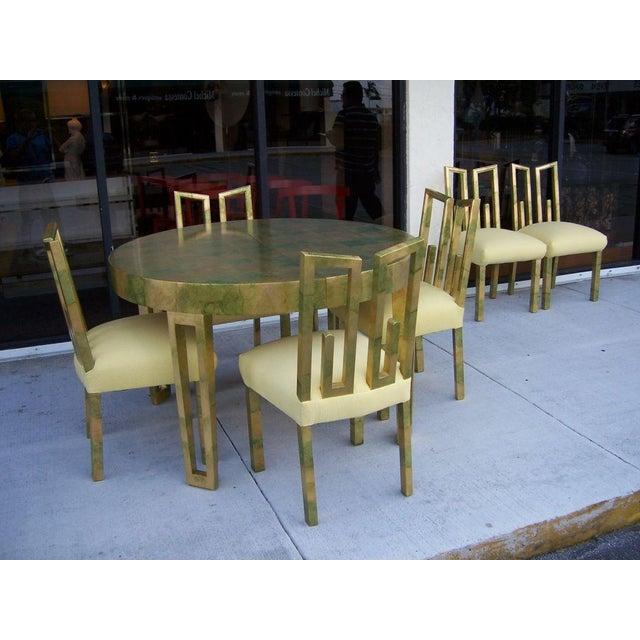 A James Mont Camouflage Gold Leaf Dining Room Set - Image 3 of 10