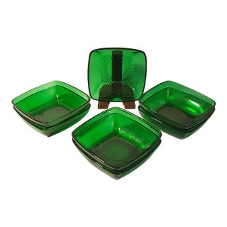 Anchor Hocking Forest Green Charm Desert Bowls, Set of 7 For Sale