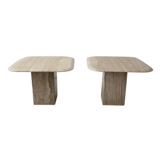 Pair of Square Polished Italian Travertine Side Tables For Sale