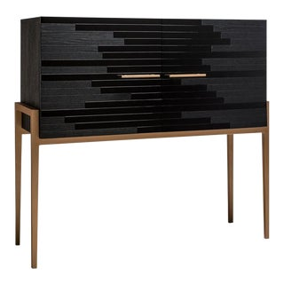Contemporary Small Cabinets for Living Room in Black Lacquer and Black Oak For Sale