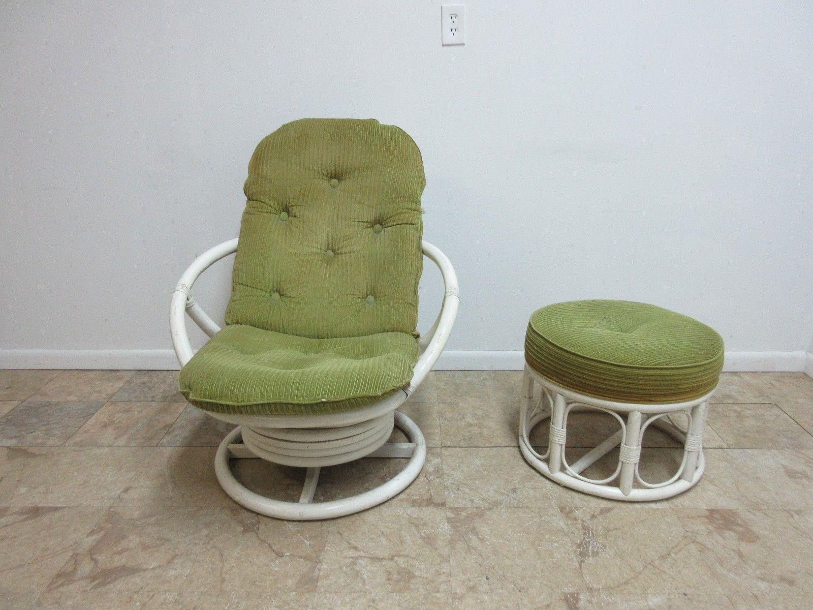Vintage Mid Century Rattan Bamboo Clarke Casual Lounge Chair And Ottoman    Image 3 Of