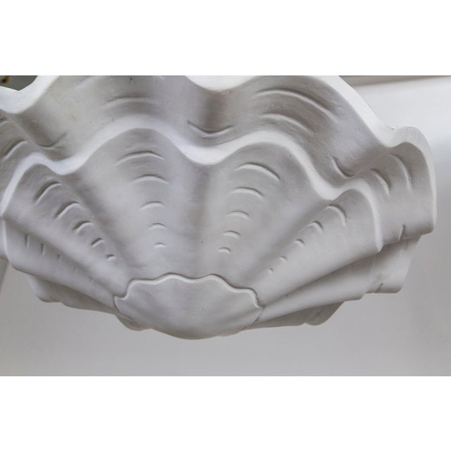 "White Circular Undulating Ribbed Plaster Shell Pendant 22"" For Sale - Image 8 of 9"