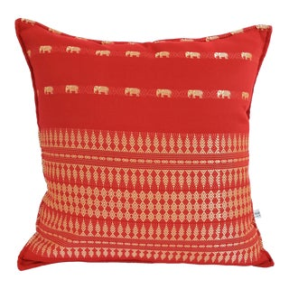 Vintage Red and Gold Thai Silk Elephant Throw Pillow For Sale