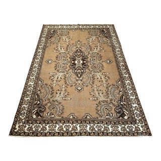 Vintage Oushak Style Carpet in Natural Wool Colors - 6′7″ × 9′10″