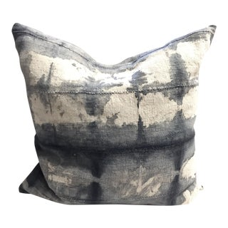 Blue, Gray and White Mud Cloth Pillow