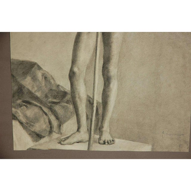 Pair of Charcoal Italian Male Nude Drawings From 1880 For Sale - Image 4 of 10