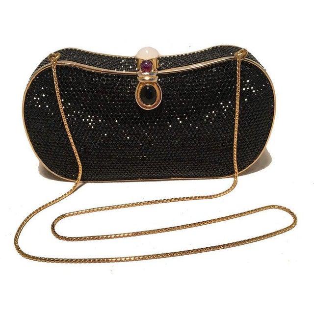 Metal Judith Leiber Black Swarovski Crystal Minaudiere Evening Bag Clutch For Sale - Image 7 of 9
