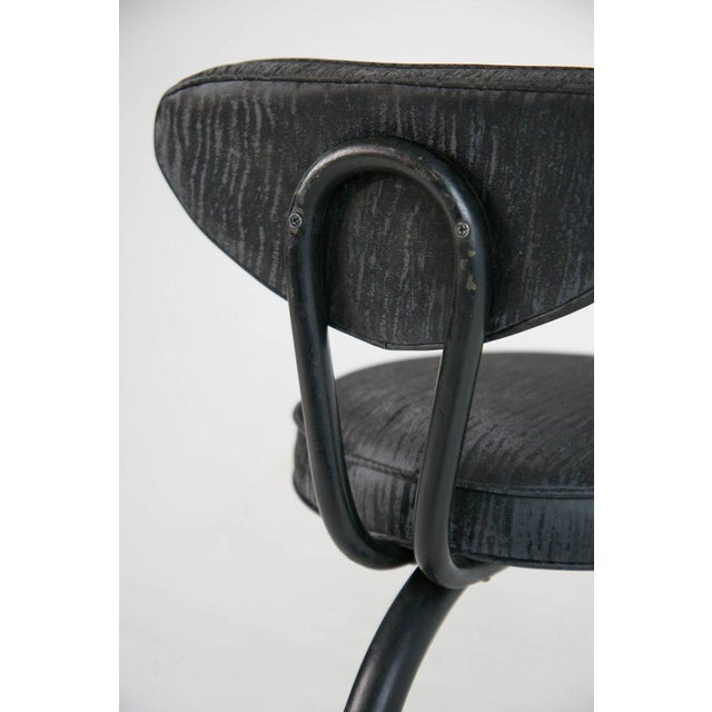 Black Cantilever Sharkskin Petite Chairs or Stools, Five, Circa 1960 For Sale - Image 8 of 11