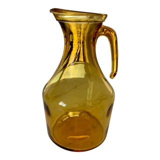 Vintage Italian Mid-Century Modern Amber Glass Pitcher For Sale