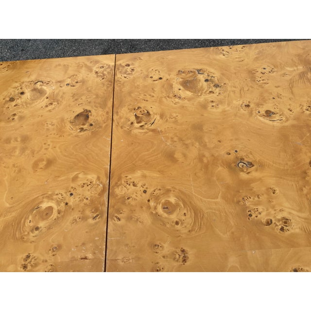 Camel MidCentury Dillingham Burl Wood Dining Table For Sale - Image 8 of 12