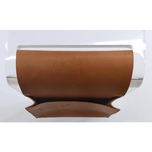 Early 21st Century Custom Lucite Waterfall Side Table With Leather Magazine Pocket For Sale - Image 5 of 7