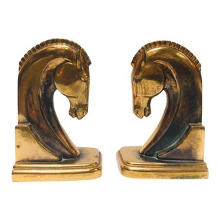 Art Deco Stylized Cast Brass Sculptures of Horse Bust Bookends - A Pair For Sale