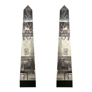 Vintage Venetian Mirrored Pilasters - A Pair For Sale