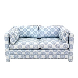 Henredon Mid-Century Modern Blue Upholstered Loveseat Settee For Sale
