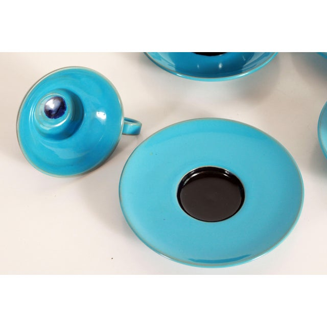 Ceramic Blue Mid Century Danish Modern Bjorn Wiinblad Pottery Tea Cups & Saucers - Set of 4 For Sale - Image 7 of 10
