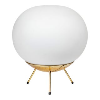 1960s Large Glass and Brass Tripod Floor or Table Lamp Attributed to Stilnovo For Sale