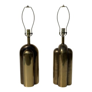 1970s Art Deco Westwood Brass Lamps - a Pair For Sale