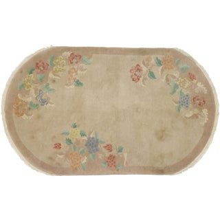 1920s Antique Chinoiserie Art Deco Oval Rug - 4′5″ × 7′4″ For Sale
