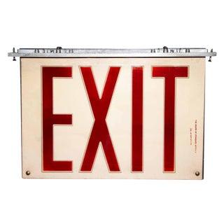 Vintage Plexi Glass & Aluminum Exit Sign For Sale