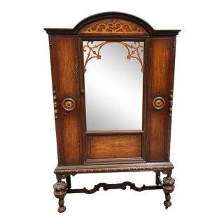 Antique Oak Jacobean Style China Cabinet/Bookcase Hutch For Sale