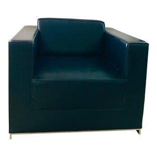 Bernhardt Design League Blue Leather Arm Chair For Sale
