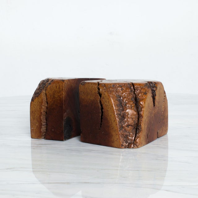 Mid Century Modern Burl Wood Bookends Attr Don Shoemaker For Sale - Image 10 of 11