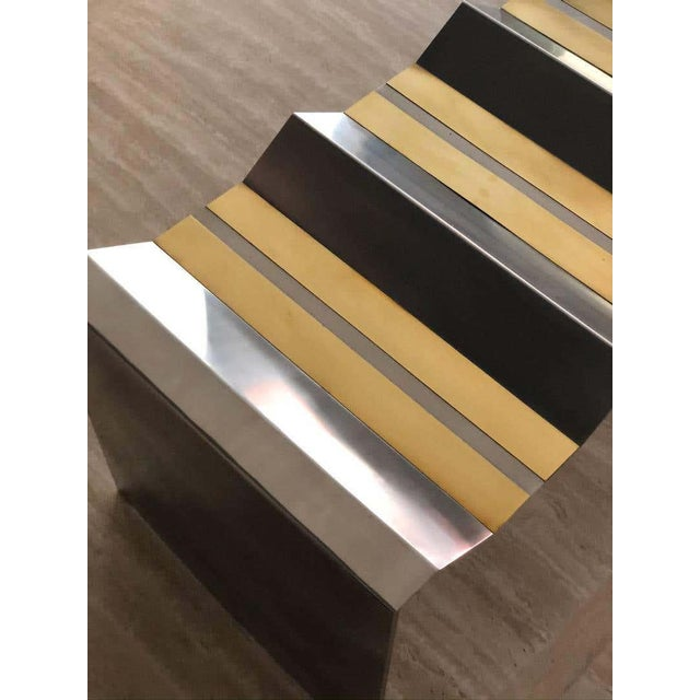 Not Yet Made - Made To Order Modern Brass Metal and Stainless Steel Decorative Bench For Sale - Image 5 of 6