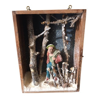 Folk Art Hand Made Winter Forest Traveler Diorama Box For Sale