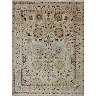 1990s Handwoven Indian Agra Rug - 9′1″ × 11′9″ For Sale
