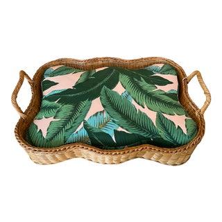 Vintage Wicker Tropical Leaf Upholstery Large Dog Pet Bed For Sale