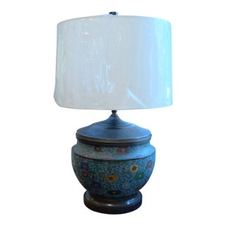 Large Antique Asian Floral Pattern Bronze Table Lamp For Sale