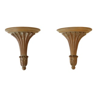 Italian Wood Wall Shelf Brackets For Sale