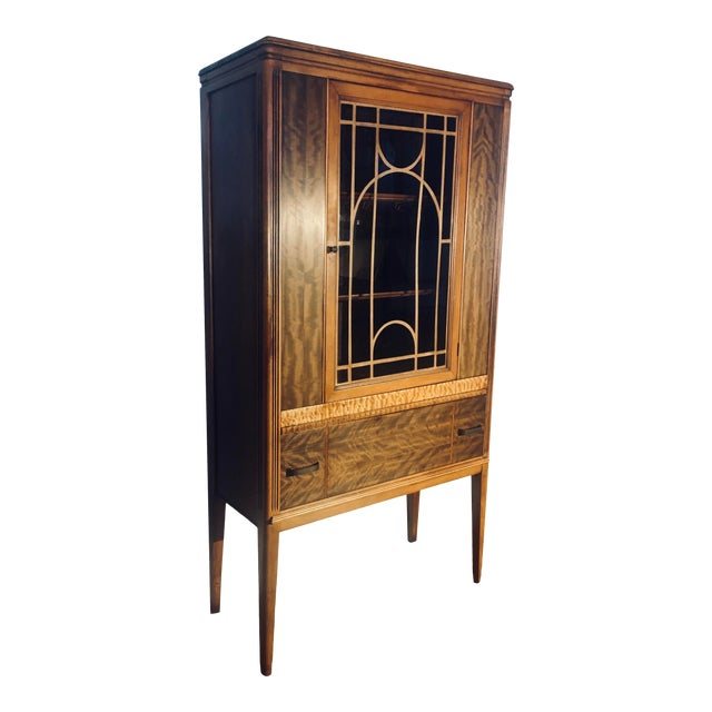 """Art Deco Exotic Woods 35"""" China Cabinet/Bookcase For Sale"""