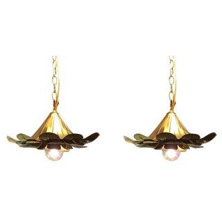 "Pair of Feldman Brass ""Lotus"" Pendant Chandeliers"