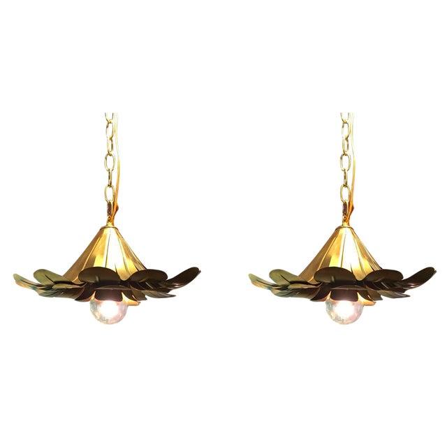 "Pair of Feldman Brass ""Lotus"" Pendant Chandeliers - Image 1 of 6"
