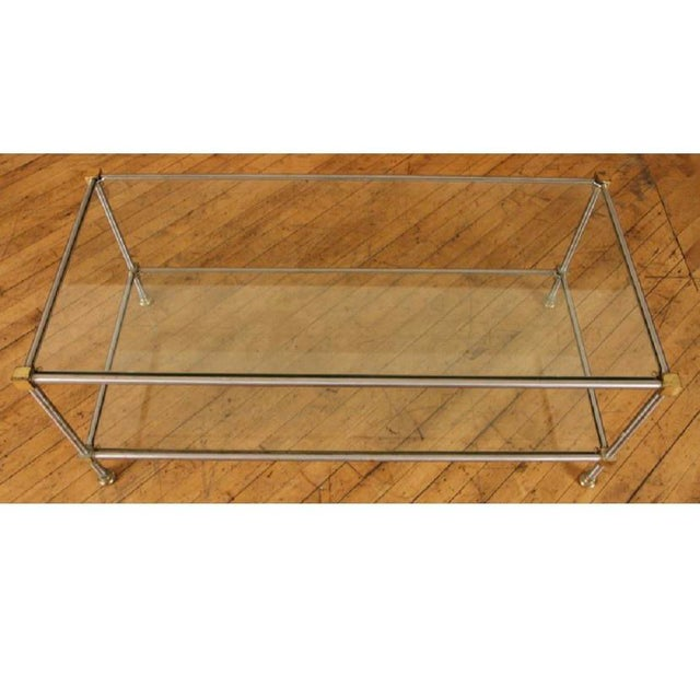 1950s French Directoire Steel and Brass Coffee Table For Sale - Image 4 of 5