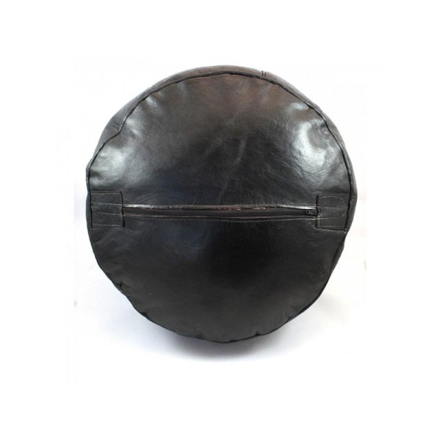 Black Leather Moroccan Pouf/Ottoman - Image 4 of 5